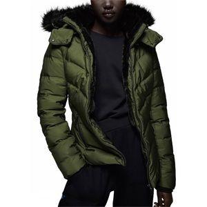 NEW Zara Down-Filled Fur Lined Padded Hood Jacket